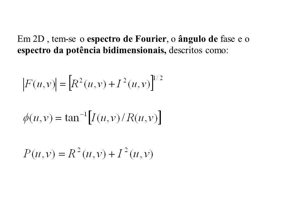 Em 2D , tem-se o espectro de Fourier, o ângulo de fase e o espectro da potência bidimensionais, descritos como: