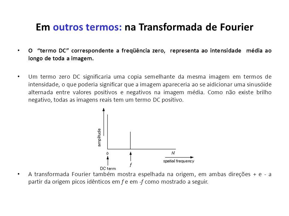 Em outros termos: na Transformada de Fourier