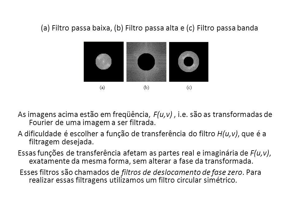 (a) Filtro passa baixa, (b) Filtro passa alta e (c) Filtro passa banda