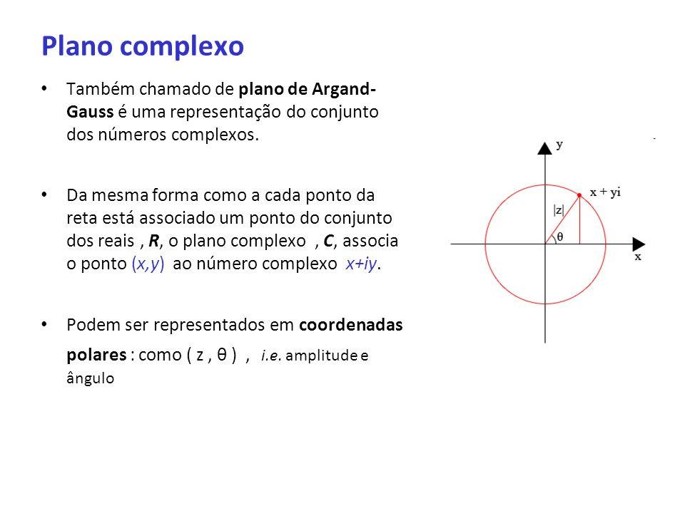 Plano complexoTambém chamado de plano de Argand- Gauss é uma representação do conjunto dos números complexos.