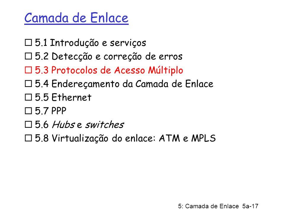 Camada de Enlace 5.1 Introdução e serviços