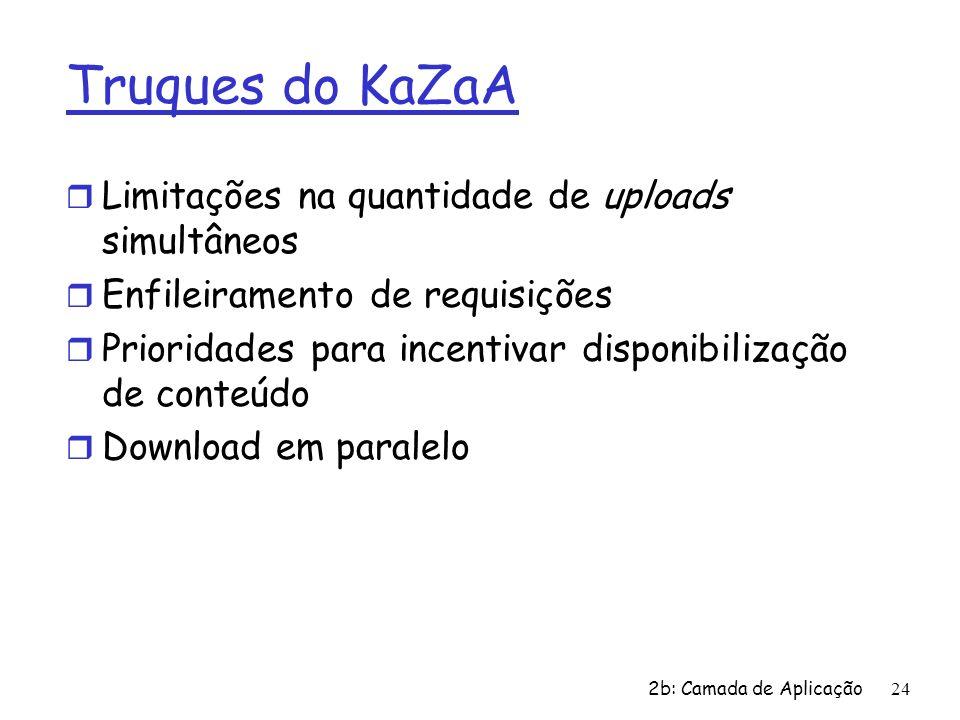 Truques do KaZaA Limitações na quantidade de uploads simultâneos