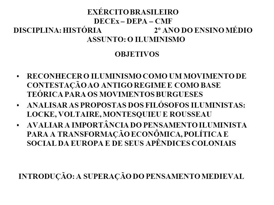 EXÉRCITO BRASILEIRO DECEx – DEPA – CMF DISCIPLINA: HISTÓRIA 2º ANO DO ENSINO MÉDIO ASSUNTO: O ILUMINISMO
