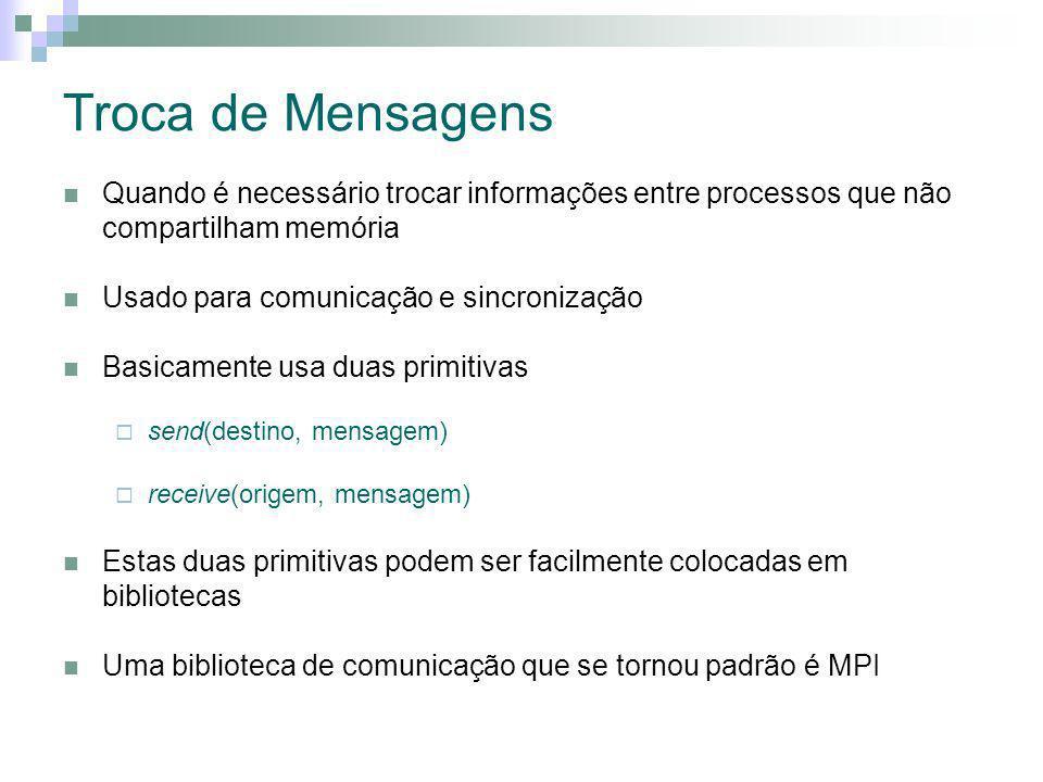 Troca de Mensagens Quando é necessário trocar informações entre processos que não compartilham memória.