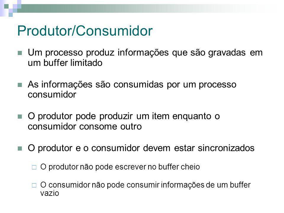 Produtor/Consumidor Um processo produz informações que são gravadas em um buffer limitado.