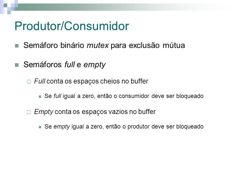 Produtor/Consumidor Semáforo binário mutex para exclusão mútua