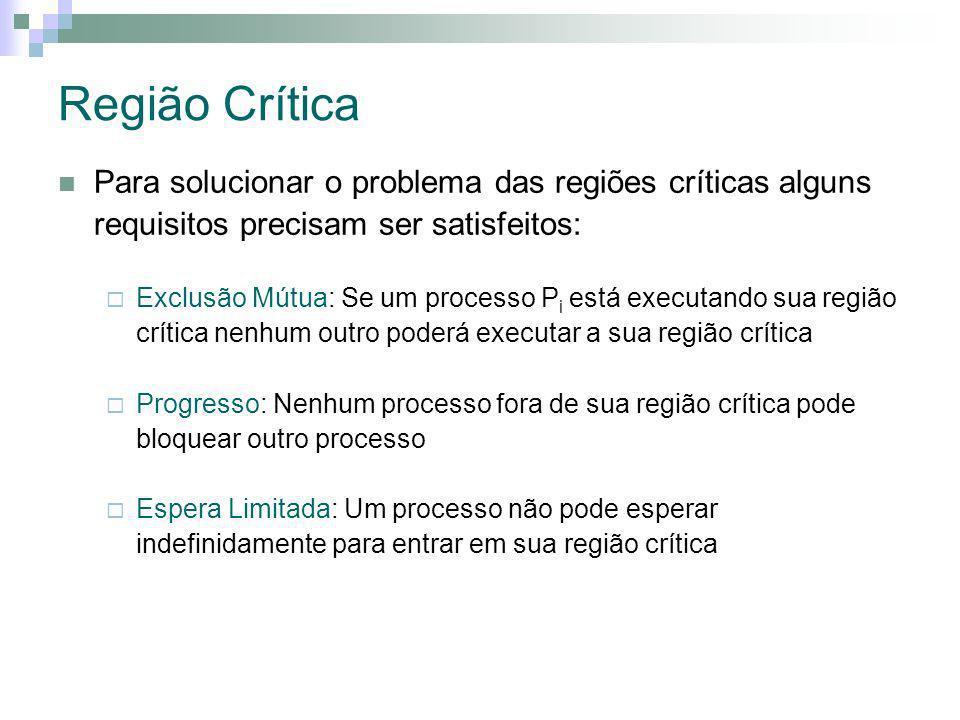 Região Crítica Para solucionar o problema das regiões críticas alguns requisitos precisam ser satisfeitos: