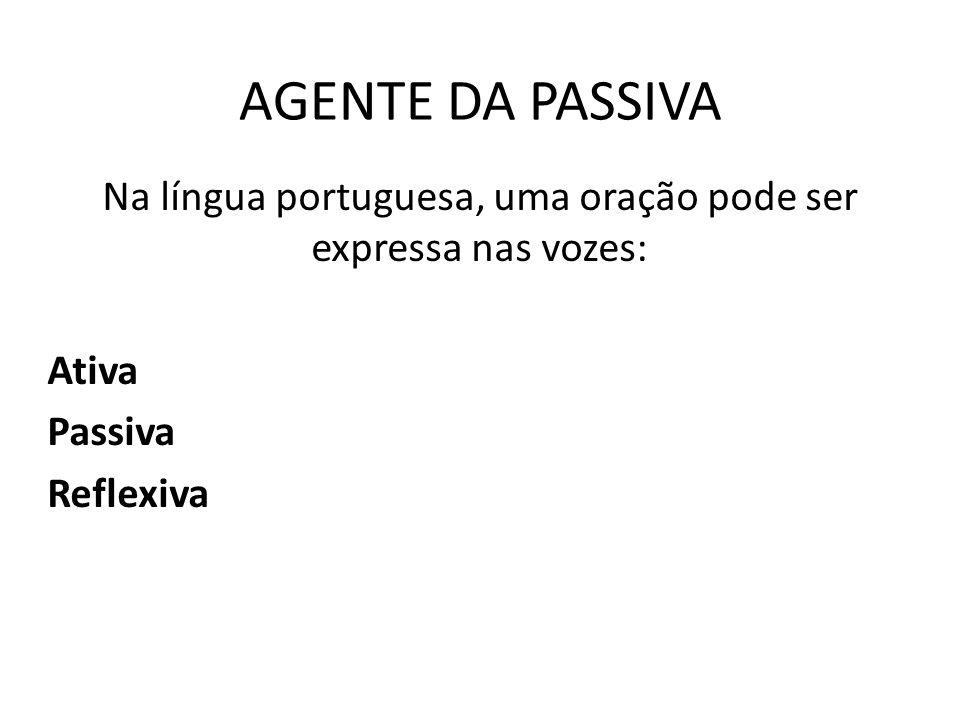 Na língua portuguesa, uma oração pode ser expressa nas vozes: