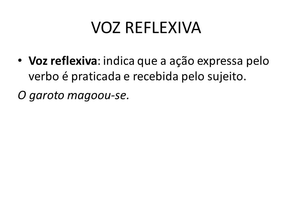 VOZ REFLEXIVA Voz reflexiva: indica que a ação expressa pelo verbo é praticada e recebida pelo sujeito.