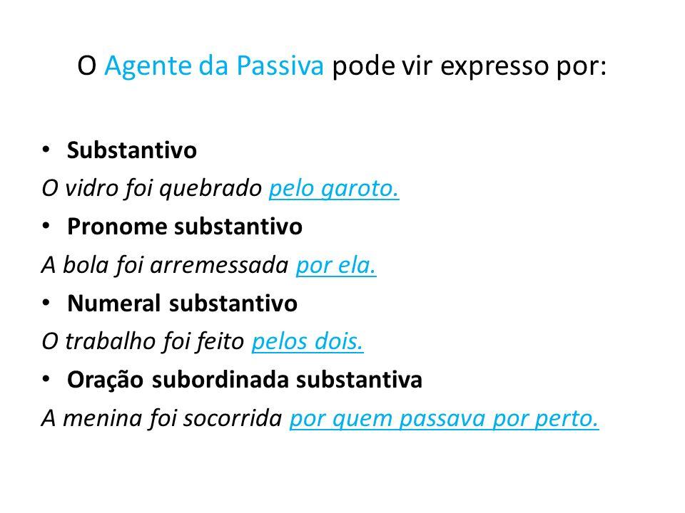 O Agente da Passiva pode vir expresso por: