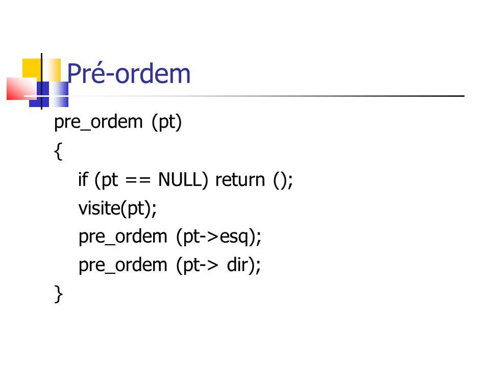 Pré-ordem pre_ordem (pt) { if (pt == NULL) return (); visite(pt);