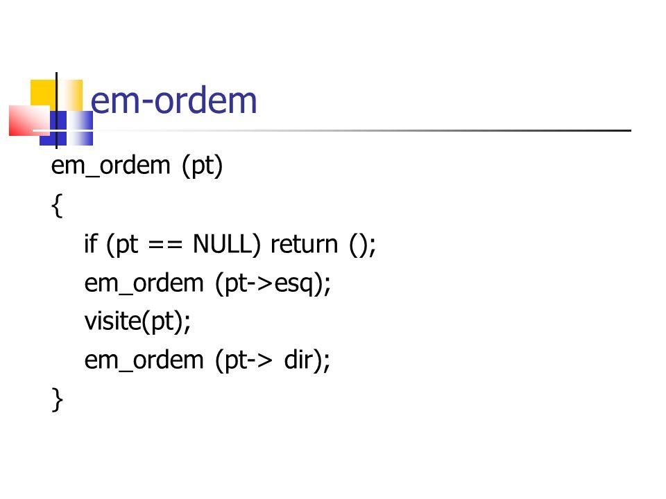em-ordem em_ordem (pt) { if (pt == NULL) return ();
