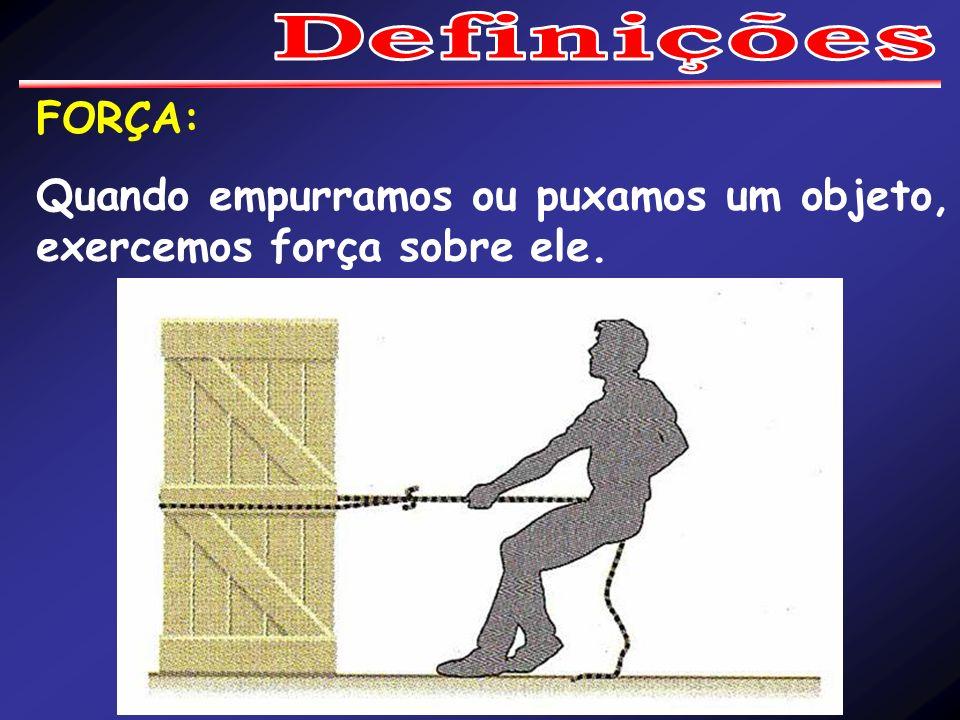 Definições FORÇA: Quando empurramos ou puxamos um objeto, exercemos força sobre ele.