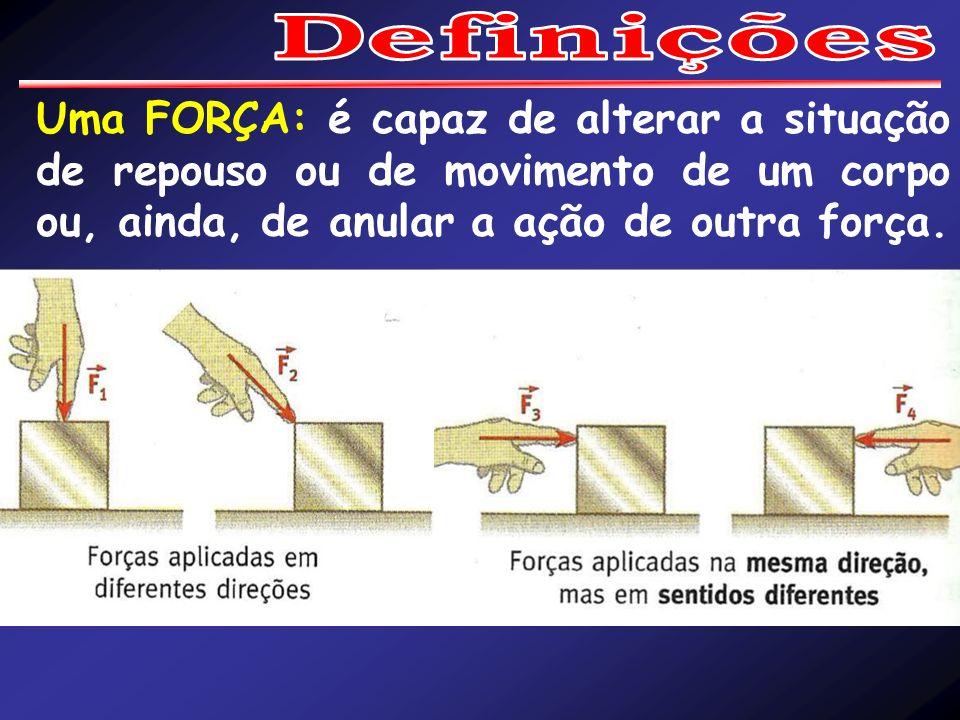 Definições Uma FORÇA: é capaz de alterar a situação de repouso ou de movimento de um corpo ou, ainda, de anular a ação de outra força.