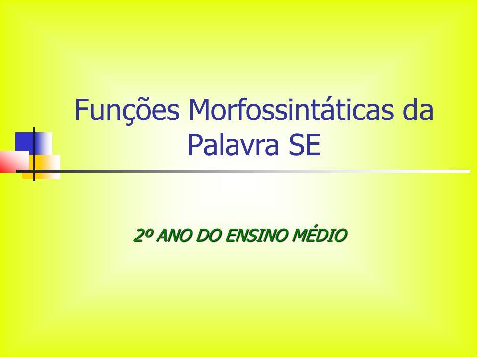 Funções Morfossintáticas da Palavra SE