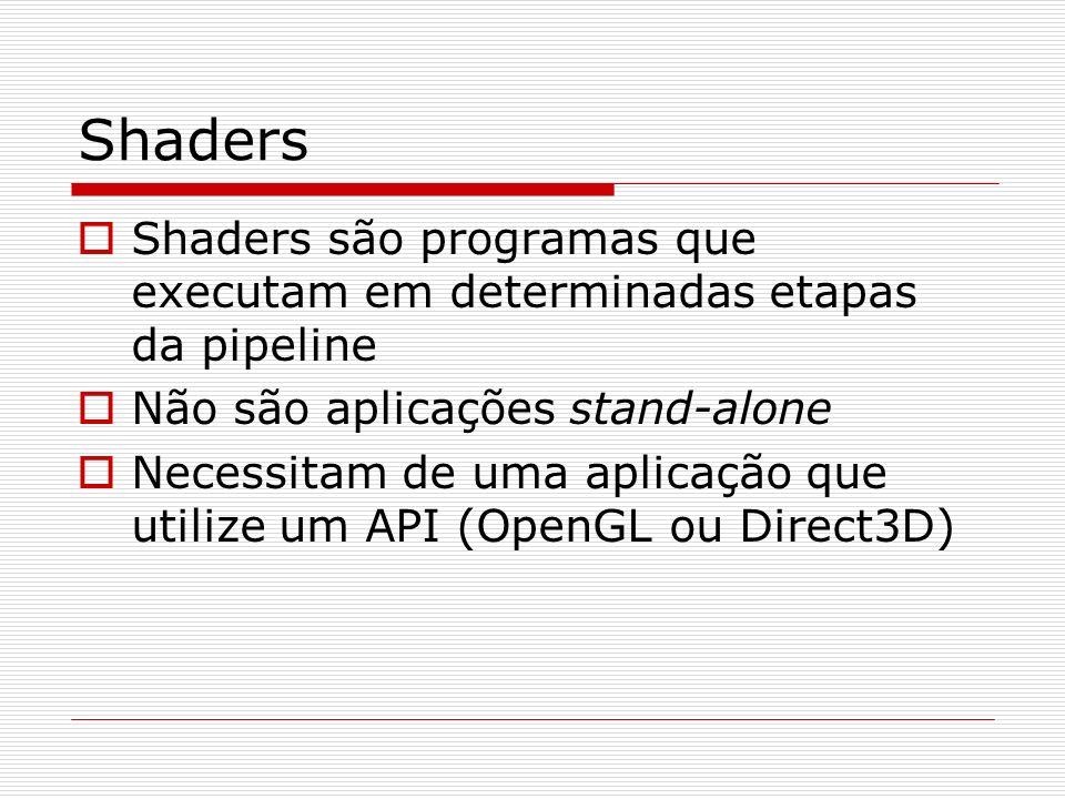 Shaders Shaders são programas que executam em determinadas etapas da pipeline. Não são aplicações stand-alone.