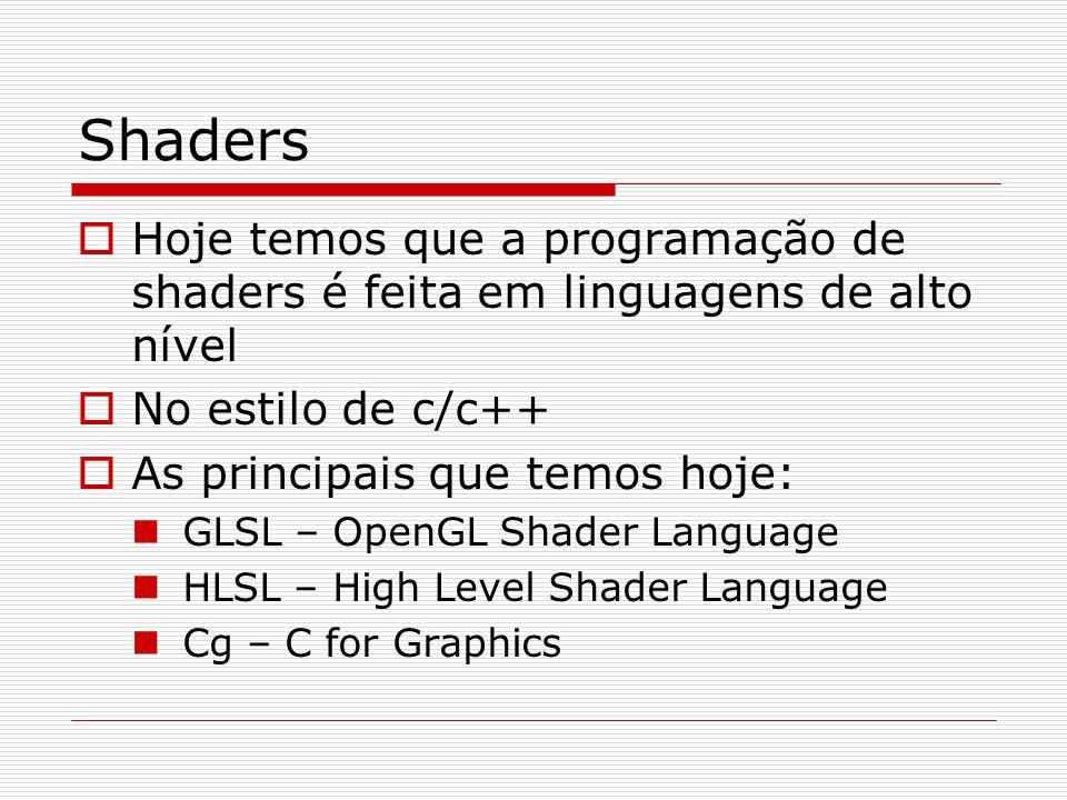 Shaders Hoje temos que a programação de shaders é feita em linguagens de alto nível. No estilo de c/c++