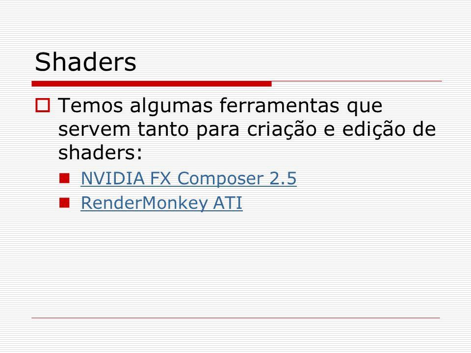 ShadersTemos algumas ferramentas que servem tanto para criação e edição de shaders: NVIDIA FX Composer 2.5.