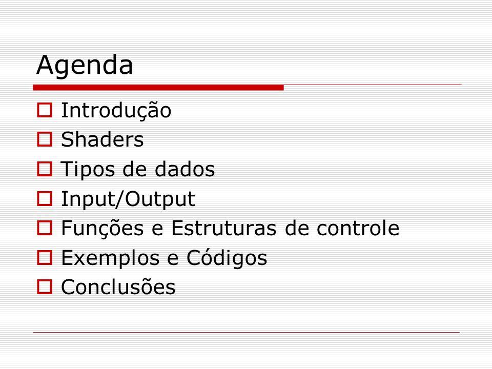 Agenda Introdução Shaders Tipos de dados Input/Output