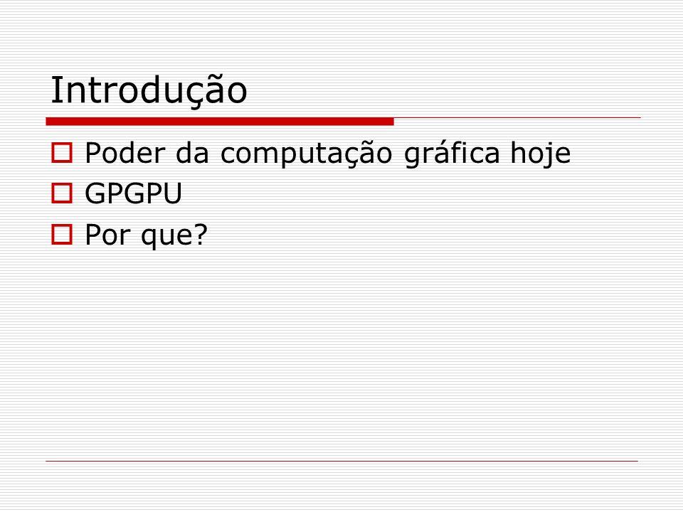 Introdução Poder da computação gráfica hoje GPGPU Por que