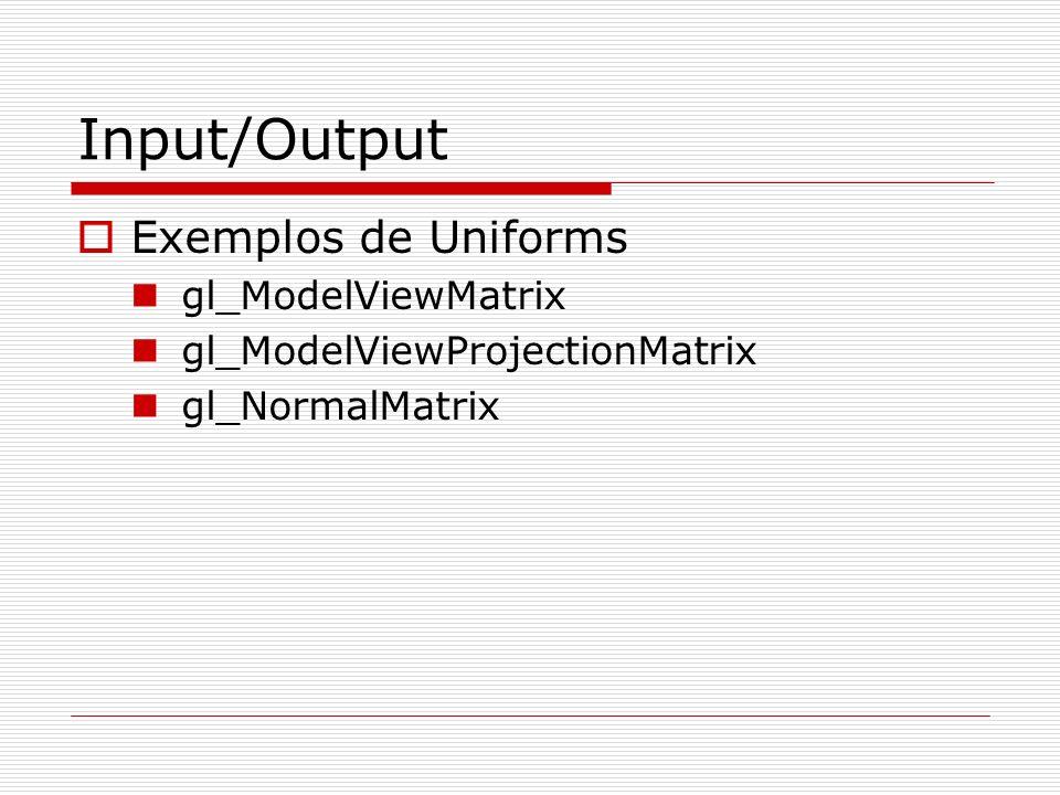 Input/Output Exemplos de Uniforms gl_ModelViewMatrix