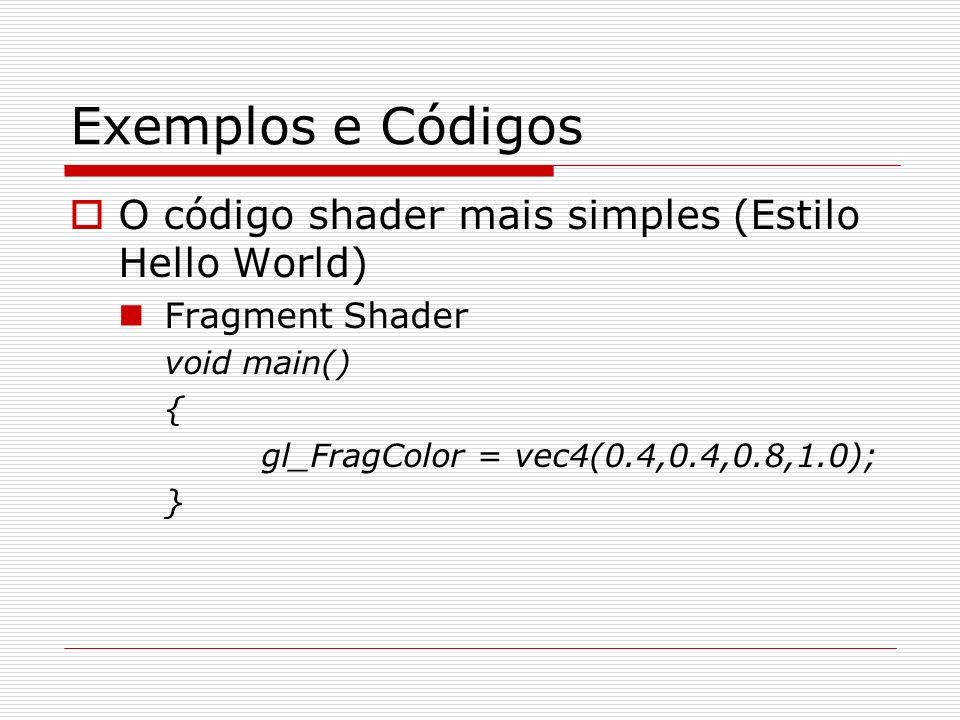 Exemplos e Códigos O código shader mais simples (Estilo Hello World)