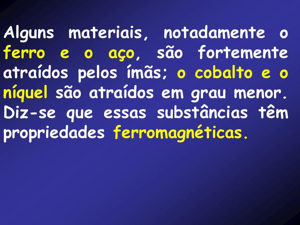 Alguns materiais, notadamente o ferro e o aço, são fortemente atraídos pelos ímãs; o cobalto e o níquel são atraídos em grau menor.