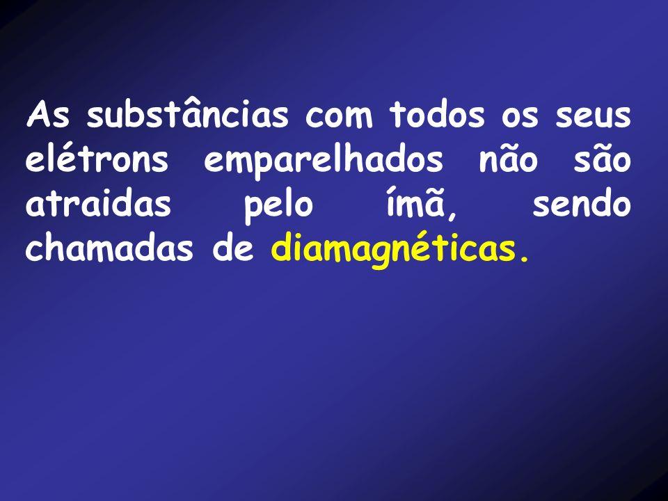As substâncias com todos os seus elétrons emparelhados não são atraidas pelo ímã, sendo chamadas de diamagnéticas.