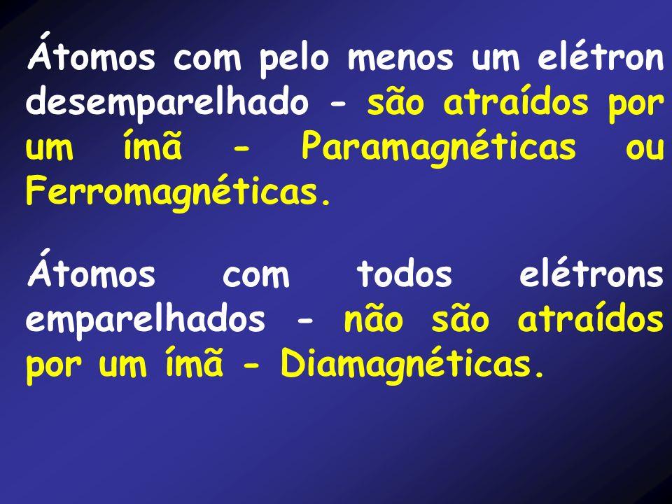 Átomos com pelo menos um elétron desemparelhado - são atraídos por um ímã - Paramagnéticas ou Ferromagnéticas.