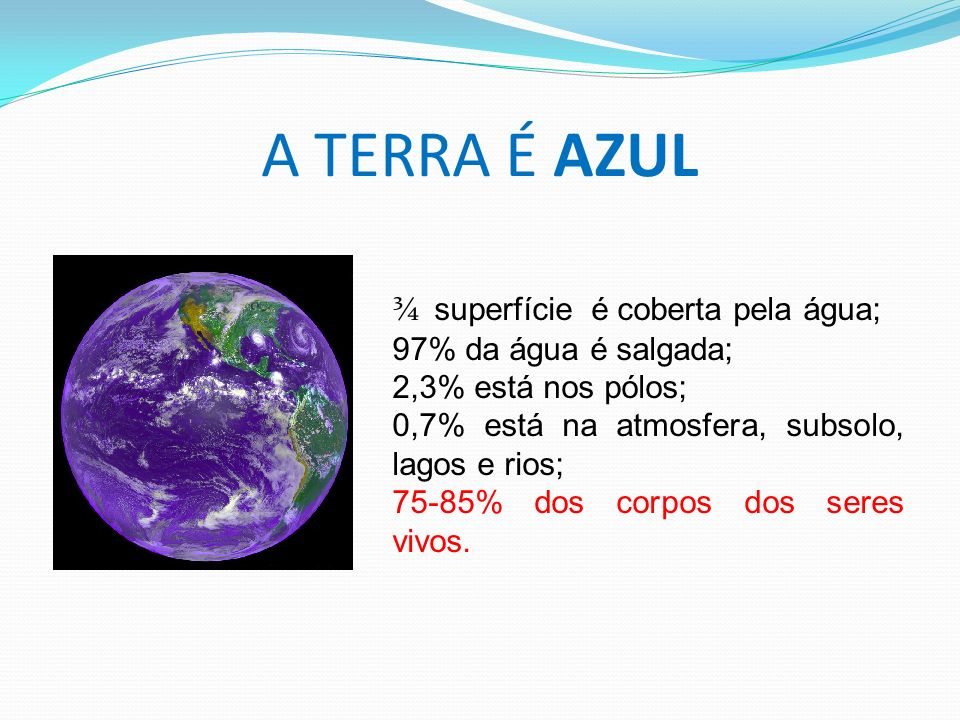 A TERRA É AZUL ¾ superfície é coberta pela água;