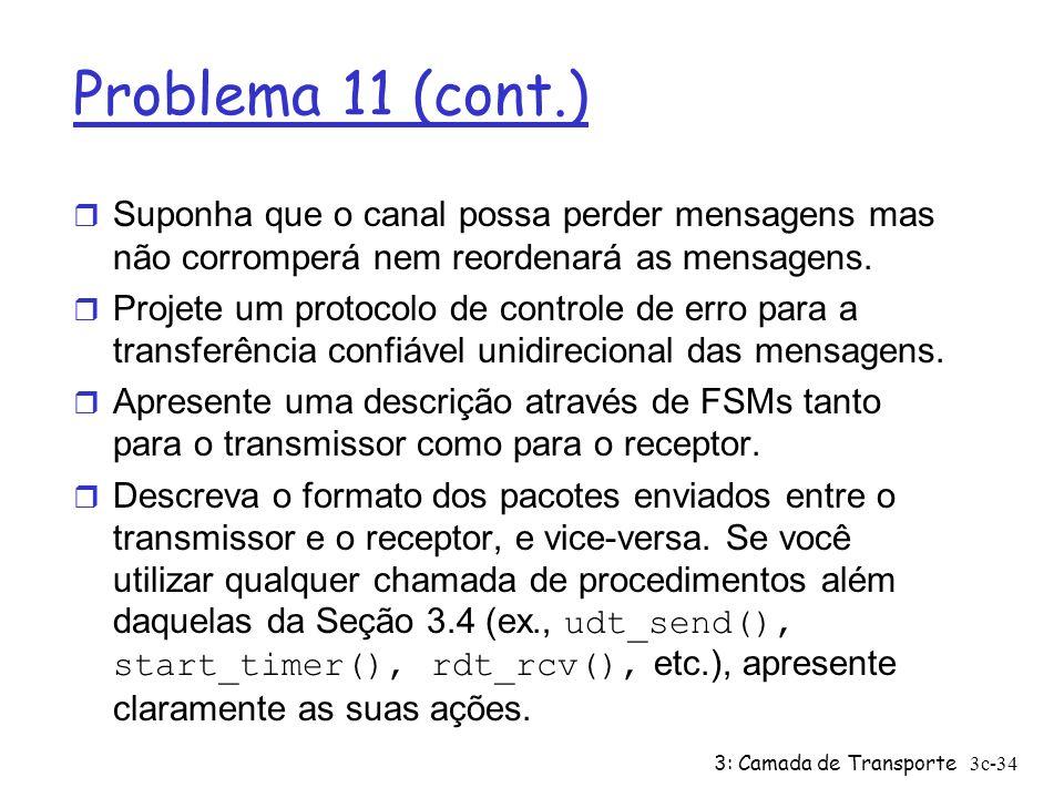 Problema 11 (cont.) Suponha que o canal possa perder mensagens mas não corromperá nem reordenará as mensagens.