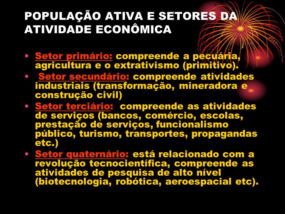 POPULAÇÃO ATIVA E SETORES DA ATIVIDADE ECONÔMICA