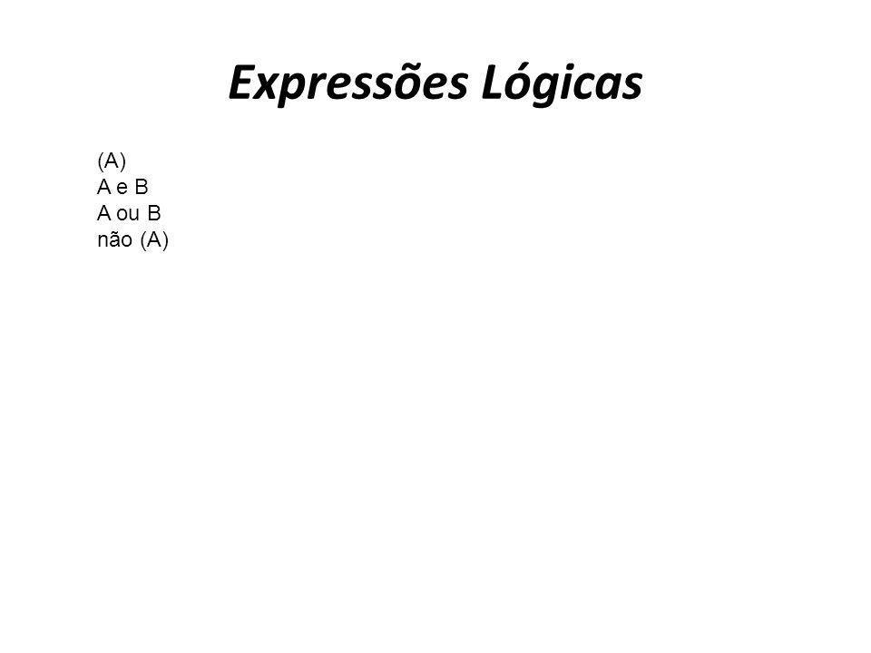 Expressões Lógicas (A) A e B A ou B não (A)
