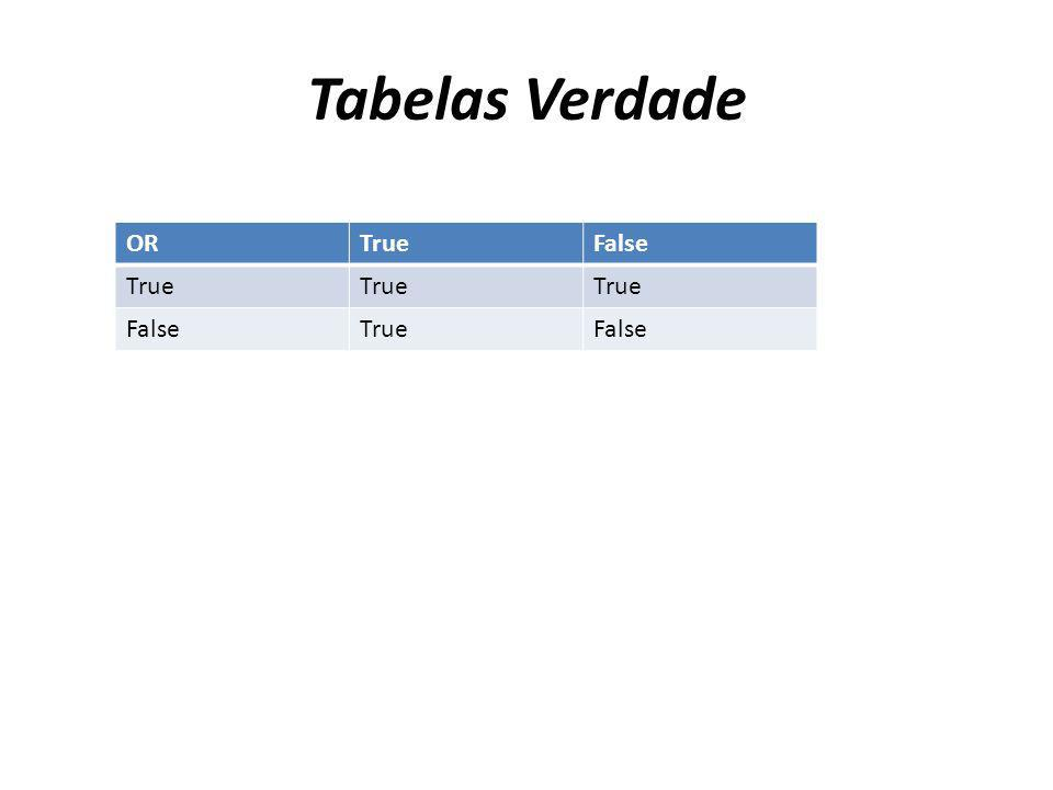 Tabelas Verdade OR True False