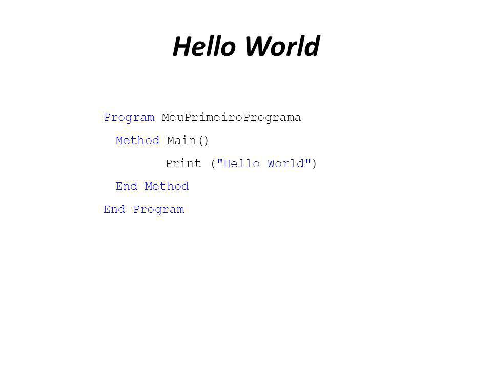 Hello World Program MeuPrimeiroPrograma Method Main()