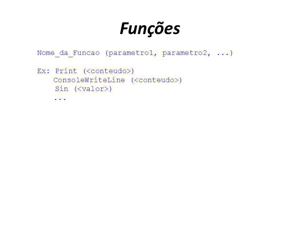 Funções Nome_da_Funcao (parametro1, parametro2, ...)