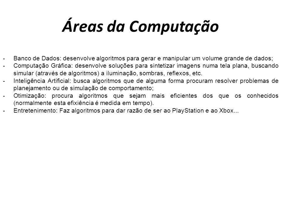 Áreas da ComputaçãoBanco de Dados: desenvolve algoritmos para gerar e manipular um volume grande de dados;