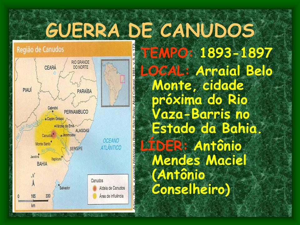 GUERRA DE CANUDOS TEMPO: 1893-1897
