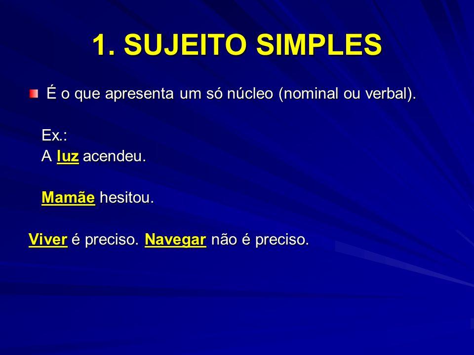 1. SUJEITO SIMPLES É o que apresenta um só núcleo (nominal ou verbal).