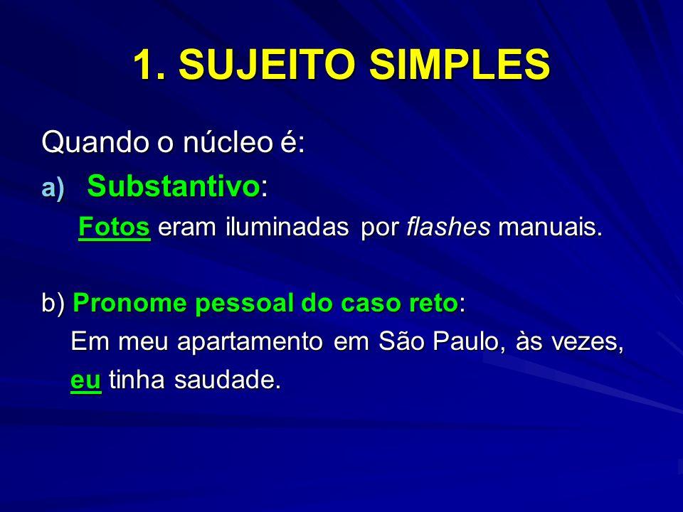 1. SUJEITO SIMPLES Quando o núcleo é: Substantivo: