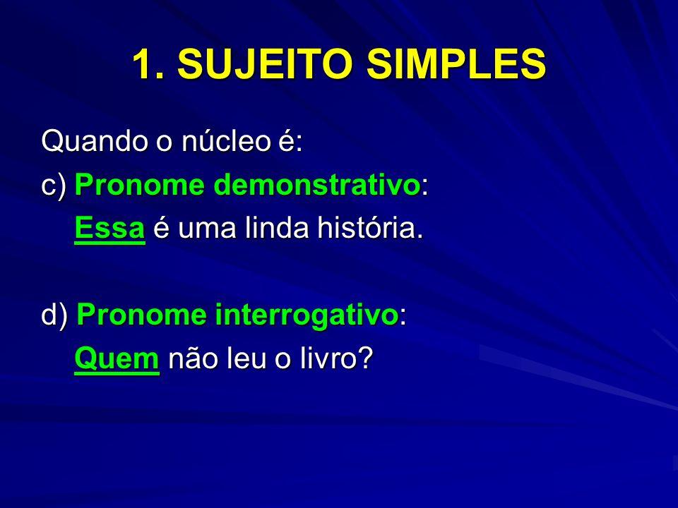 1. SUJEITO SIMPLES Quando o núcleo é: c) Pronome demonstrativo: