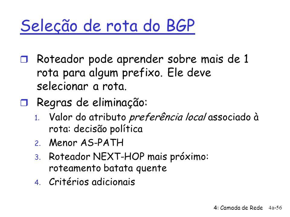 Seleção de rota do BGP Roteador pode aprender sobre mais de 1 rota para algum prefixo. Ele deve selecionar a rota.
