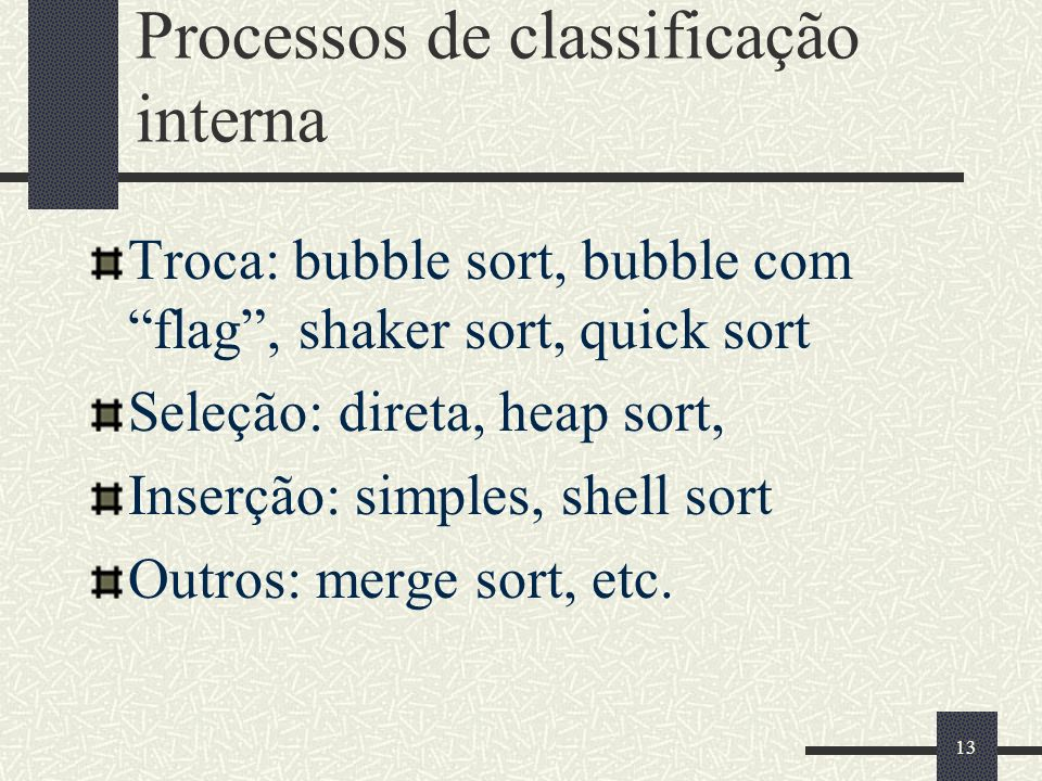Processos de classificação interna