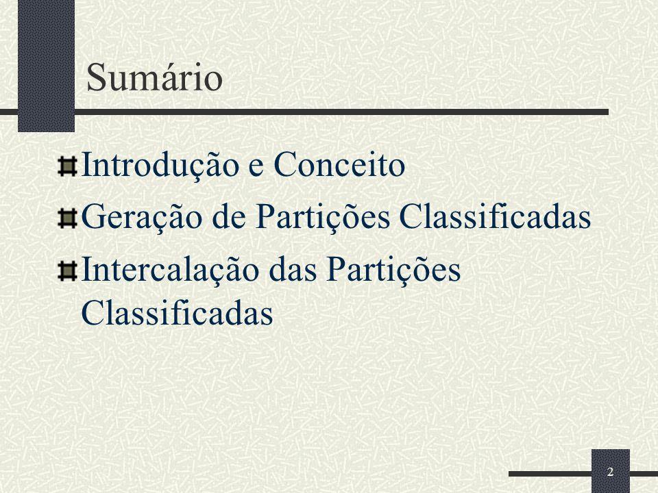 Sumário Introdução e Conceito Geração de Partições Classificadas