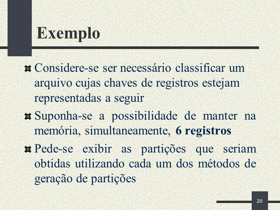 Exemplo Considere-se ser necessário classificar um arquivo cujas chaves de registros estejam representadas a seguir.