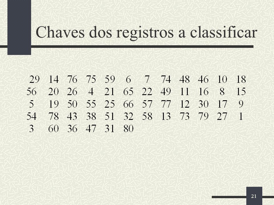 Chaves dos registros a classificar