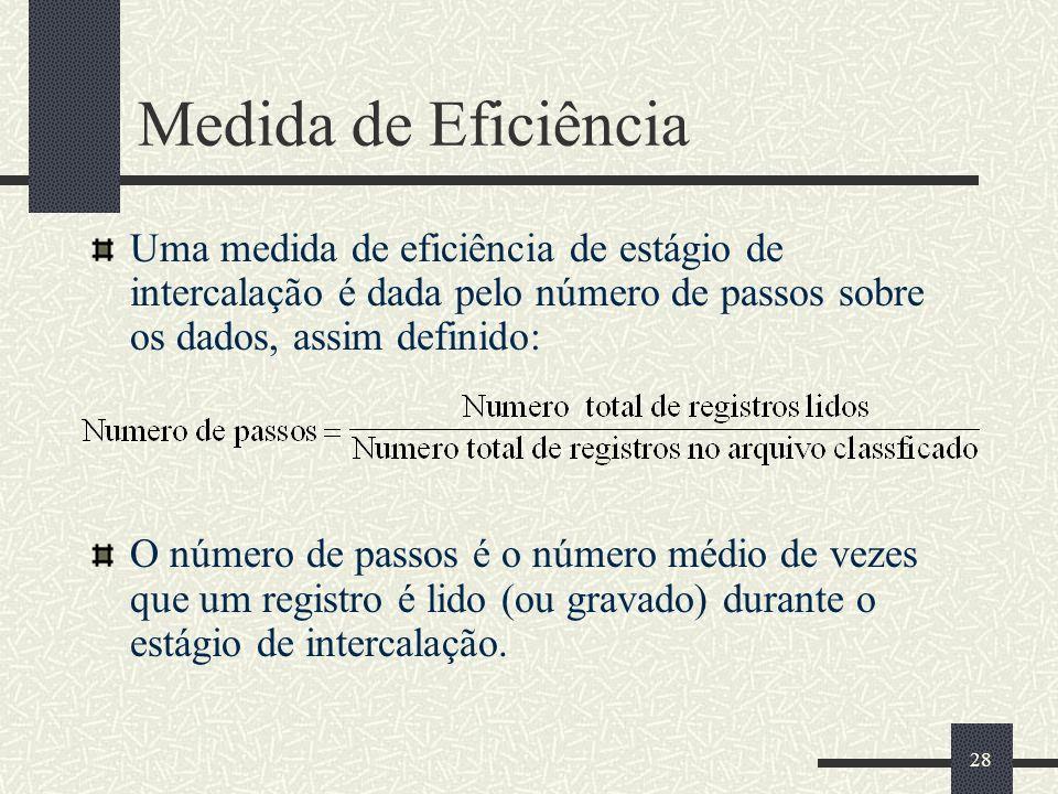 Medida de Eficiência Uma medida de eficiência de estágio de intercalação é dada pelo número de passos sobre os dados, assim definido: