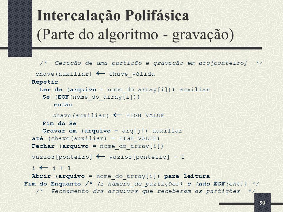 Intercalação Polifásica (Parte do algoritmo - gravação)