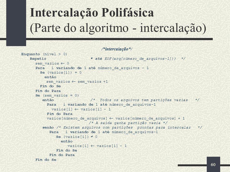 Intercalação Polifásica (Parte do algoritmo - intercalação)