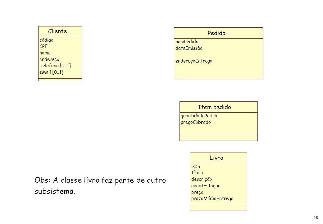 Obs: A classe livro faz parte de outro subsistema.